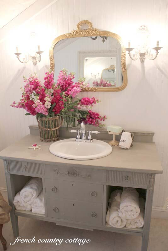 Repurposed Sideboard Sink Vanity with Storage #shabbychic #bathroom #decorhomeideas