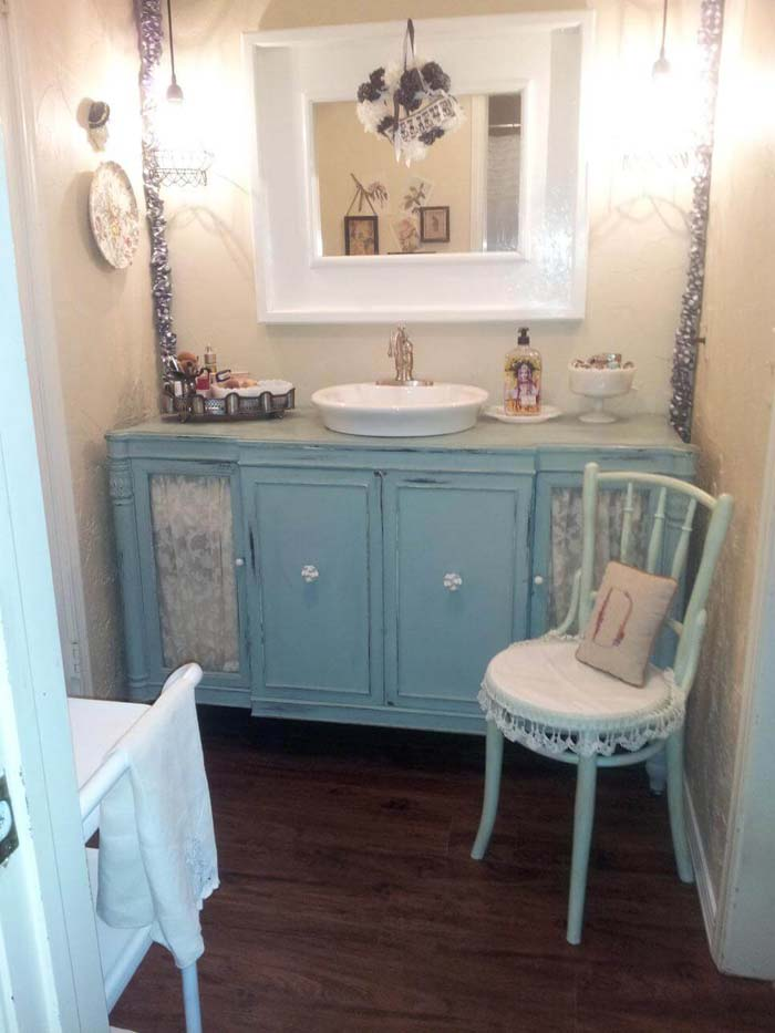 Shabby Chic Bathroom Vanity with Lace Features #shabbychic #bathroom #decorhomeideas