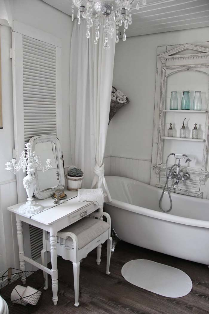 Shabby Chic Dressing Table and Tub Shelving #shabbychic #bathroom #decorhomeideas