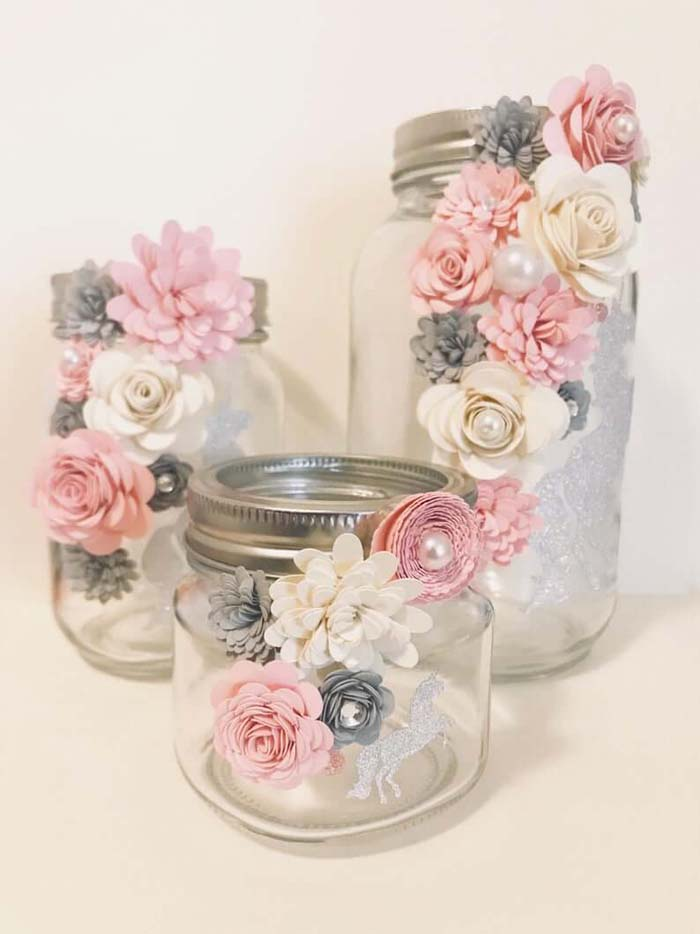 Sparkle Unicorn Jar with Trailing Paper Flowers #floral #homedecor #decorhomeideas