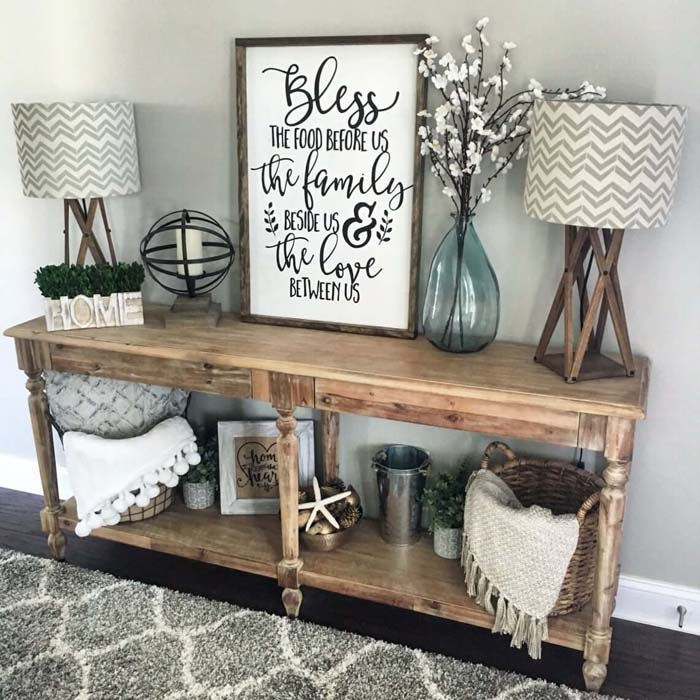Surround Yourself with Homemade Blessings #rusticentryway #farmhouse #decor #decorhomeideas