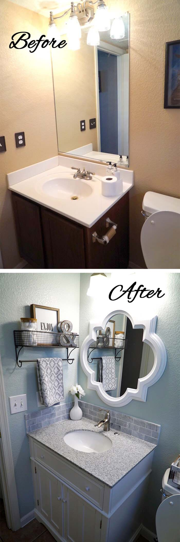 Unexpected Mirrors Work in Small Bathrooms #bathroom #makeover #decorhomeideas
