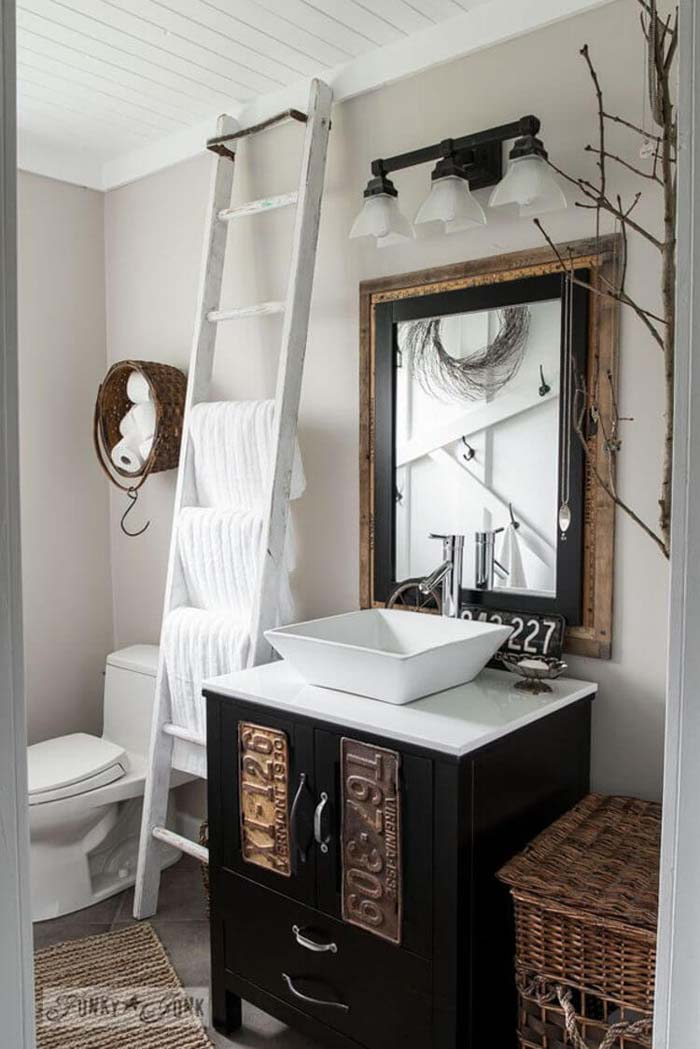 Up-Cycled Garage and Garden Finds Add Character #smallbathroom #design #decorhomeideas