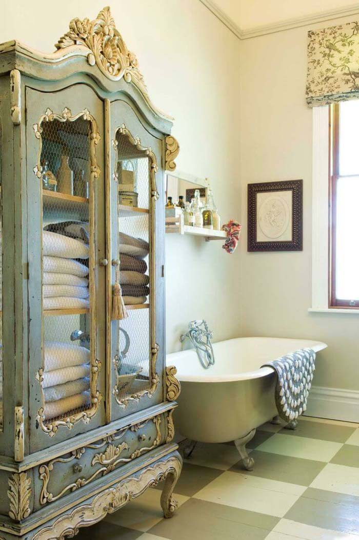 Upcycled Armoire Bathroom Linen Closet #shabbychic #bathroom #decorhomeideas