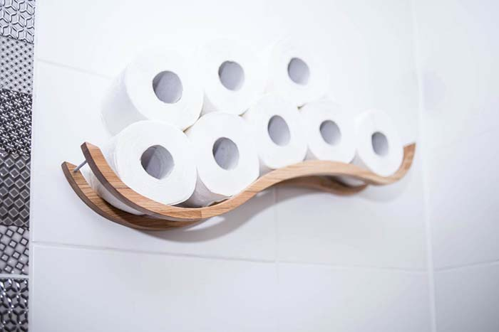 Wall Mounted Wooden Toilet Paper Holder