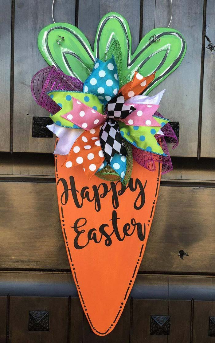 Wooden Carrot Easter Sign Decoration #Easter #sign #decorhomeideas