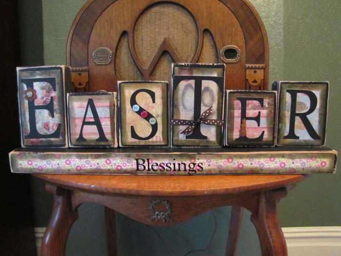 Word Block Easter Sign Decoration #Easter #sign #decorhomeideas
