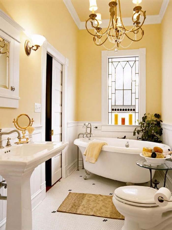 Yesteryear's Glamour in Buttercup and Gold #smallbathroom #design #decorhomeideas
