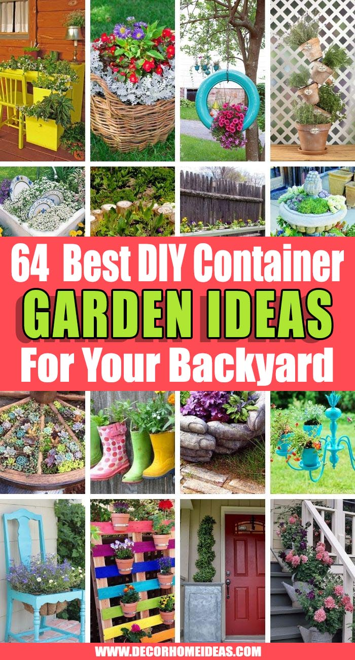 Best Container Garden Ideas. Beautiful container garden ideas with a mix of flower pots and planters. DIY ideas to spruce up your garden or backyard with flowers and gorgeous plants.  #decorhomeideas