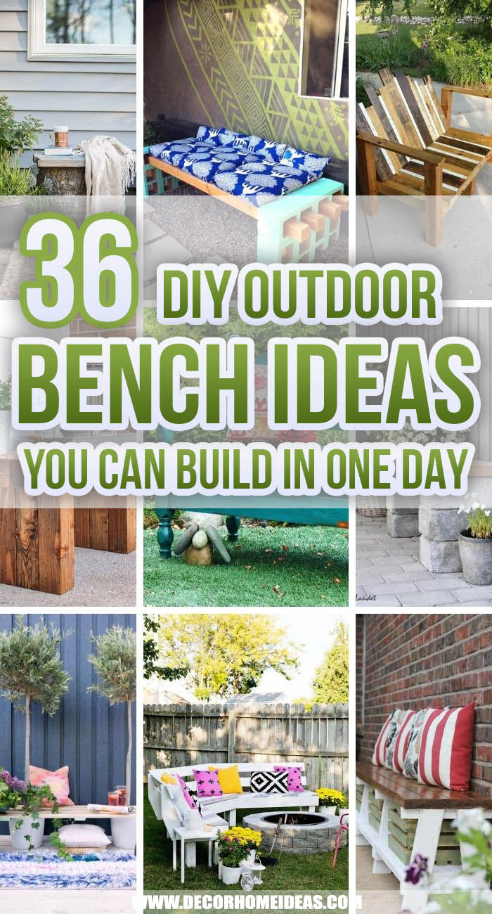 Best DIY Outdoor Bench Ideas. Are you looking for some creative DIY outdoor bench ideas to add to your garden or backyard this season? We have selected the best DIY project that you can do in no time! #decorhomeideas