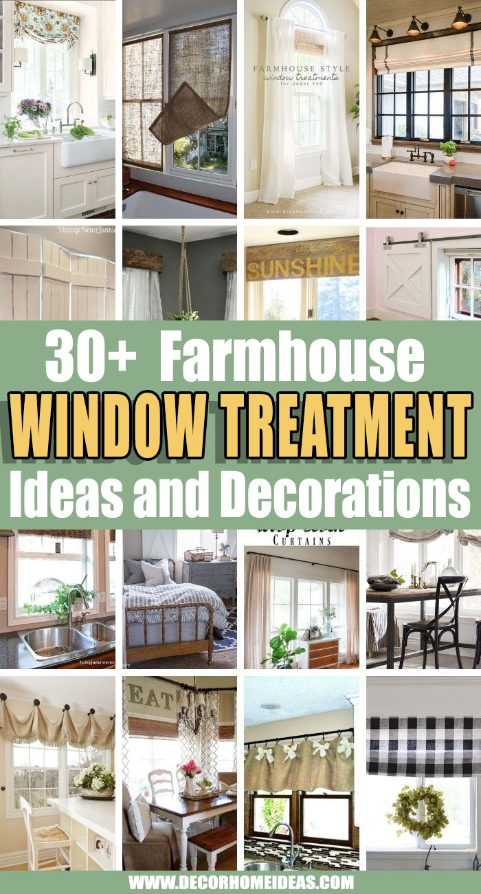 Best Farmhouse Window Treatment Ideas. If you are in love with farmhouse style then these farmhouse window treatment ideas are what you need to make your interior complete and add rustic flair. #decorhomeideas