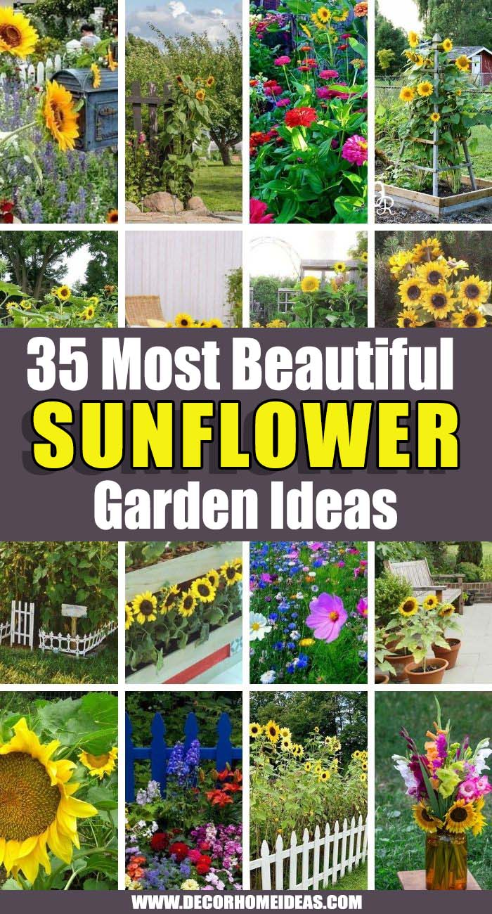 Best Sunflower Garden Ideas. You will never get bored looking at these gorgeous sunflower garden ideas as they will make you smile and feel the joy of summer in your backyard. #decorhomeideas
