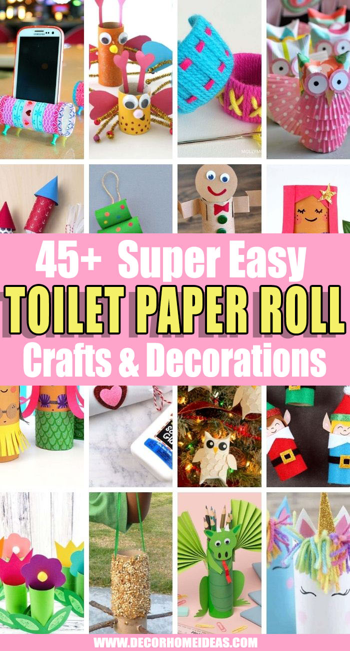 Best Toilet Paper Roll Crafts. Need some ideas on what to do with your leftover toilet tubes? Recycle them with these awesome easy toilet paper roll crafts for kids and adults! #decorhomeideas