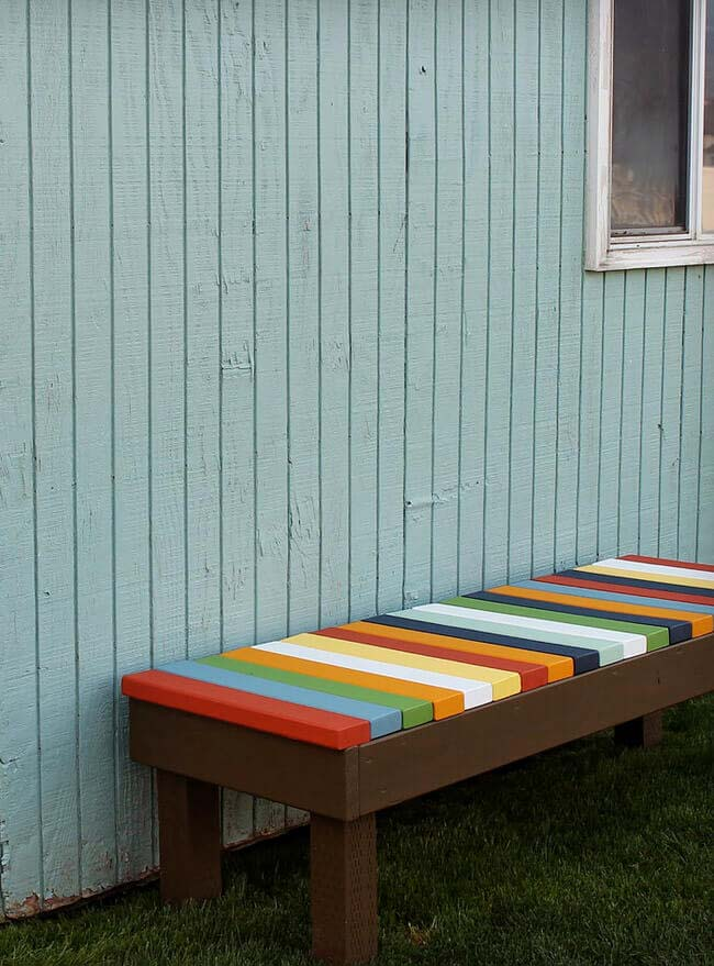 Colorful Taste of Central America Bench #diy #outdoorbench #decorhomeideas
