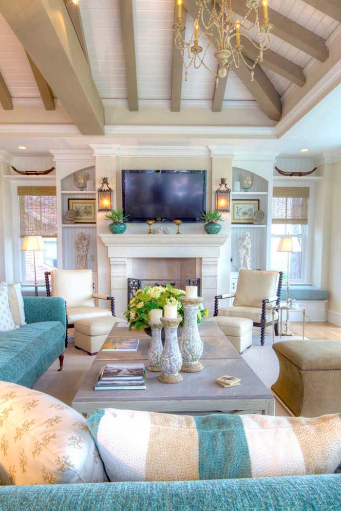 Family Room With Sand and Turquoise Accents #beachhouse #interiordesign #decorhomeideas