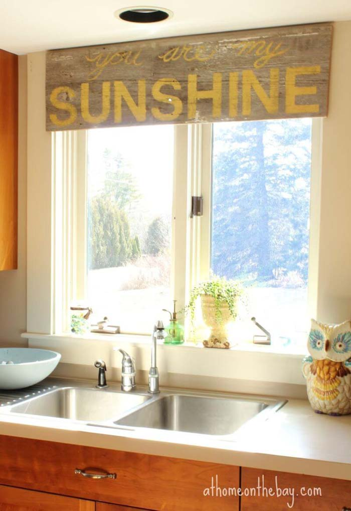 Lettered Board in Place of a Valance #farmhouse #windowtreatments #decorhomeideas