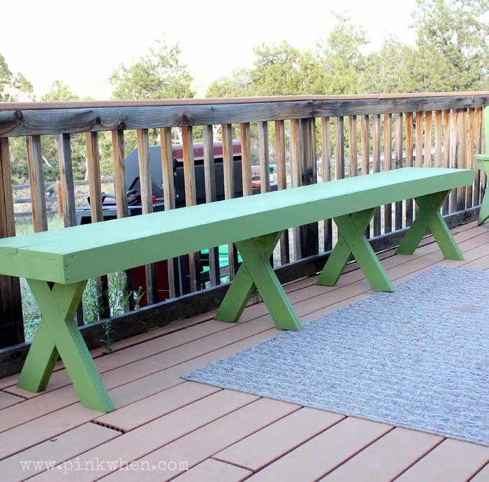 Picnic and BBQ Style Long Bench #diy #outdoorbench #decorhomeideas