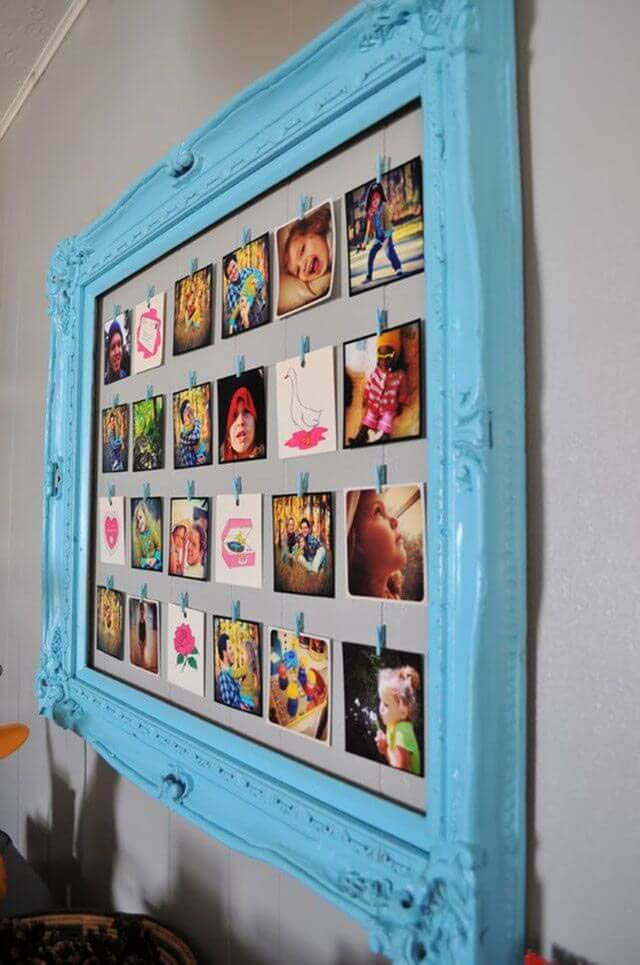 Pictures Lined up in a Pretty Blue Frame #family #homedecor #decorhomeideas