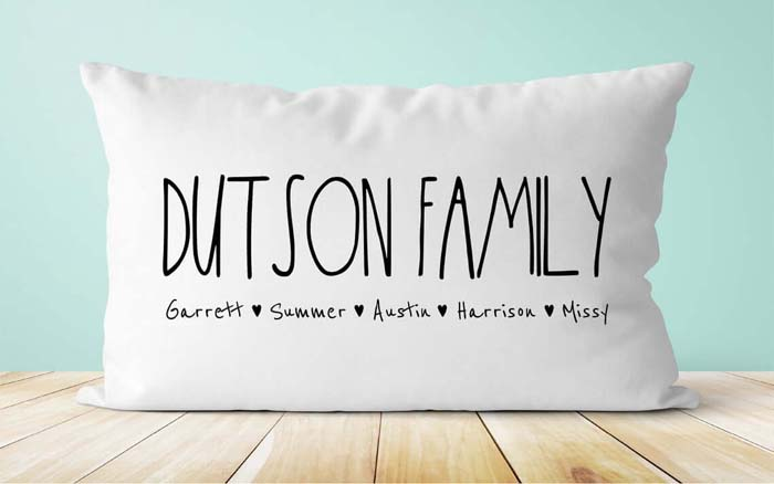 Pillow with Printed Family Roster #family #homedecor #decorhomeideas