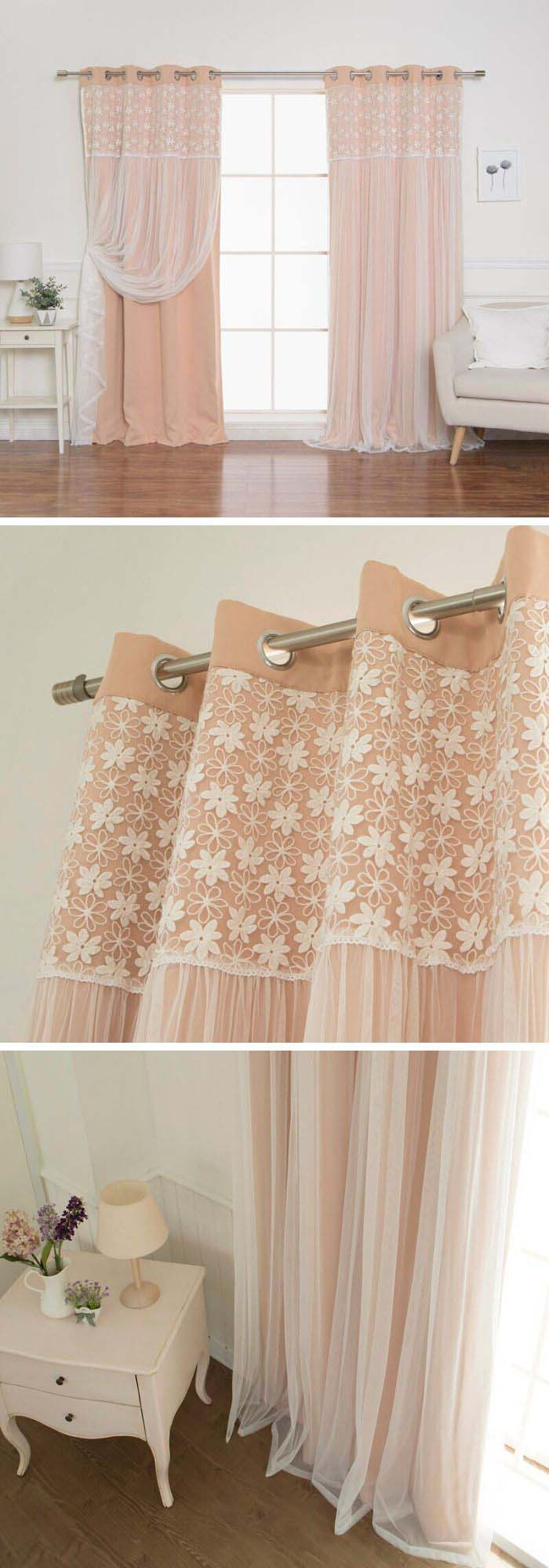 Pink Curtains With Lacing #farmhouse #windowtreatments #decorhomeideas