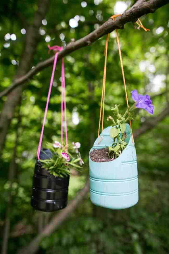 Recycled Containers as Playful Plastic Planters #gardencontainer #garden #planter #decorhomeideas