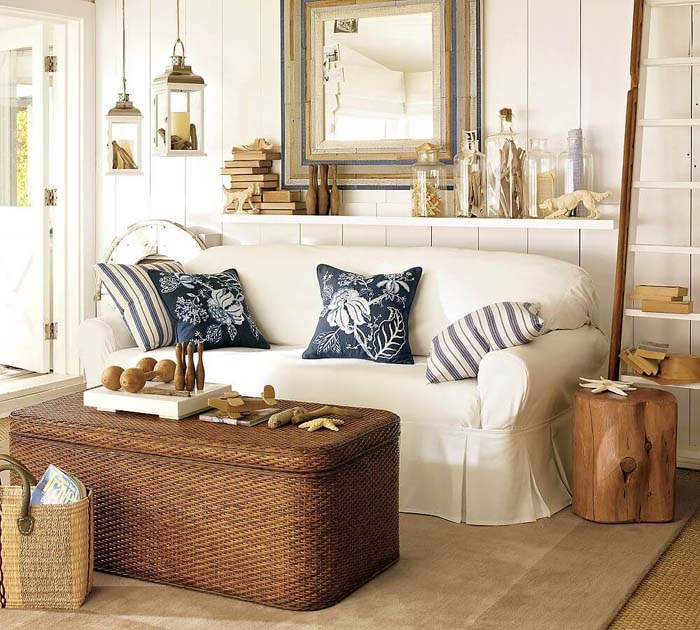 Seating Space with Wooden and Woven Surfaces #beachhouse #interiordesign #decorhomeideas