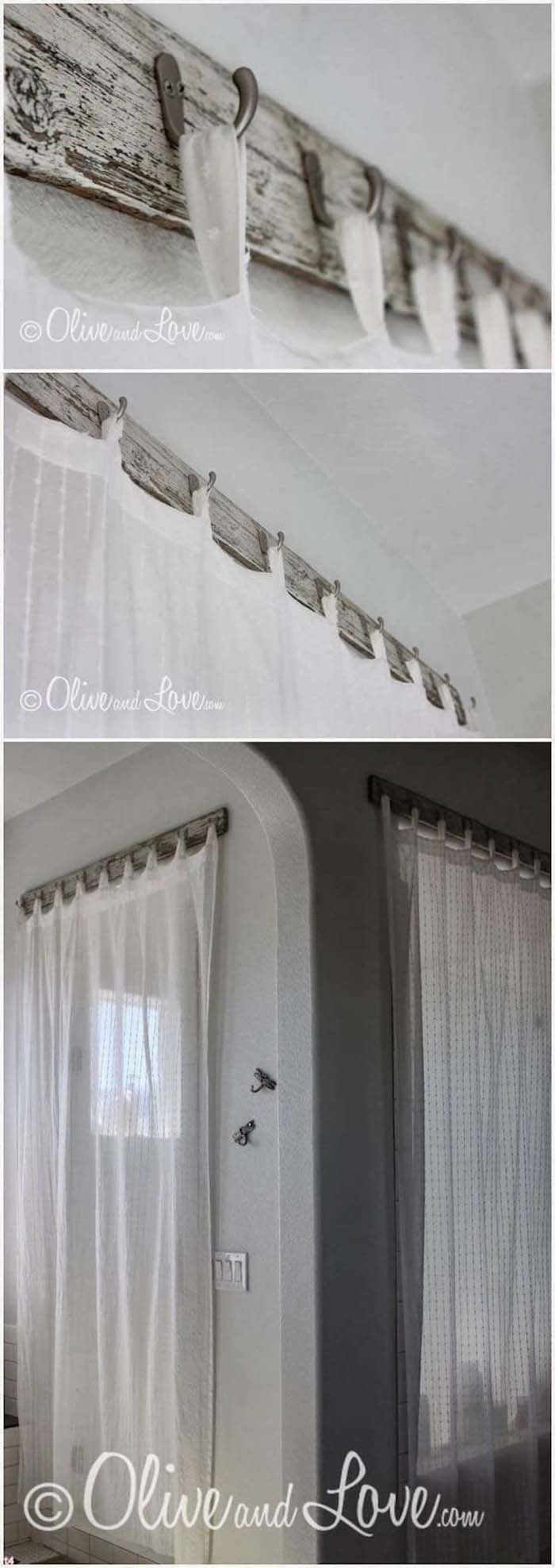 Sheers Hung from Old Fashioned Hooks #farmhouse #windowtreatments #decorhomeideas