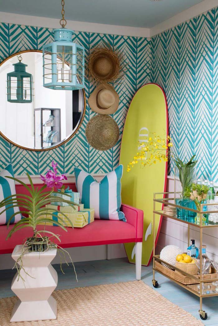 Surfer's Delight with Brightly Colored Accents #beachhouse #interiordesign #decorhomeideas