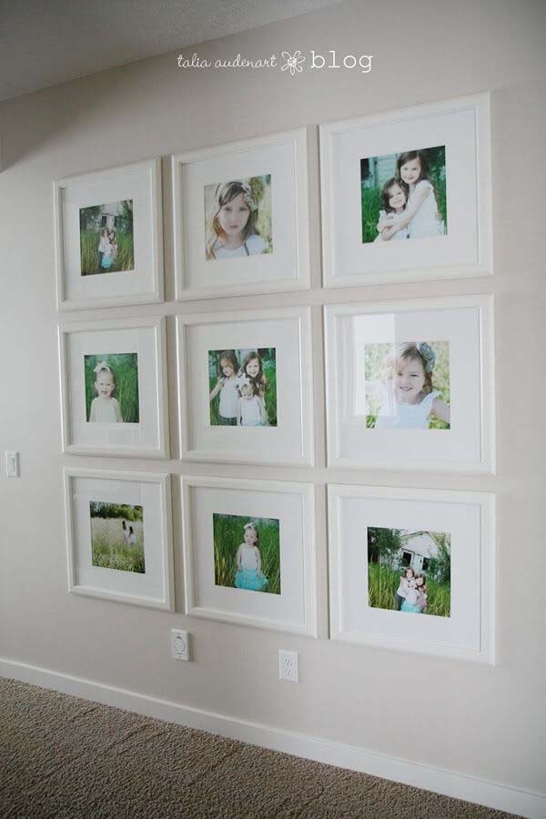 Tic Tac Toe of Pictures on White #family #homedecor #decorhomeideas