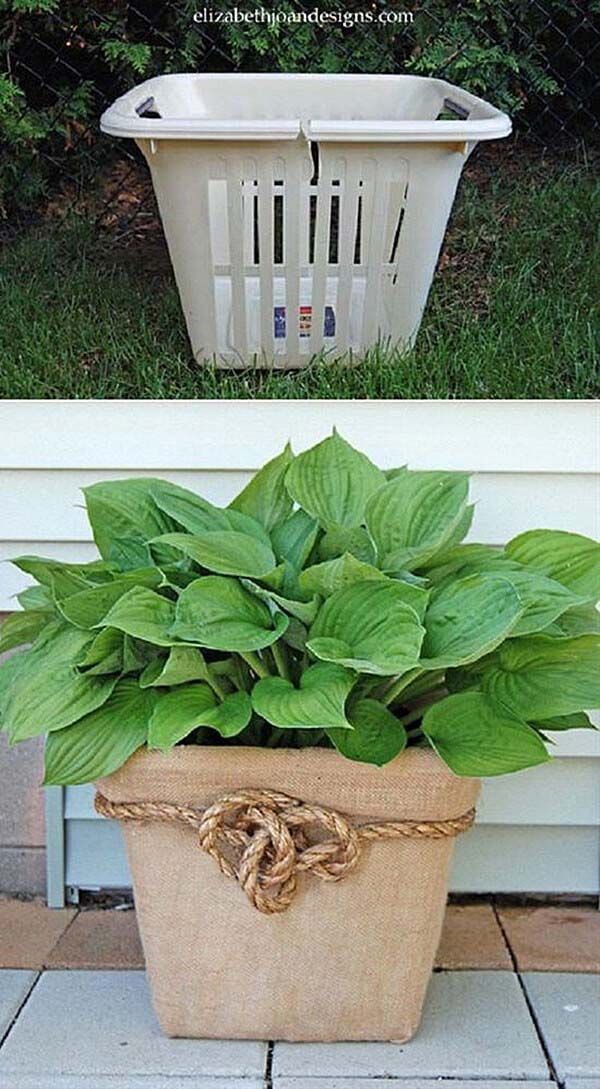 Upcycled Plastic Laundry Basket Container #gardencontainer #garden #planter #decorhomeideas