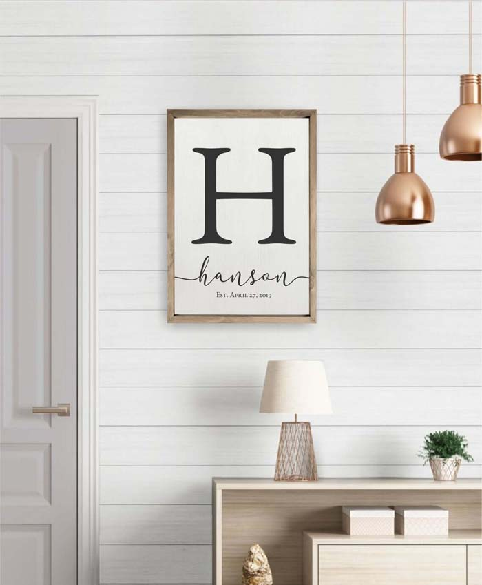 Wall Hanging with Initial and Name #family #homedecor #decorhomeideas