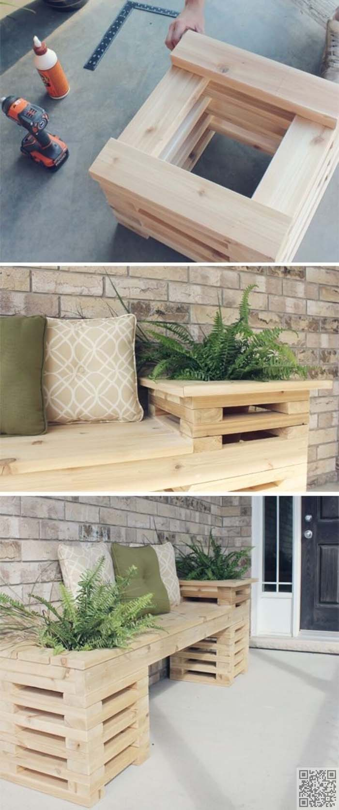 Wooden Plant Boxes with Built-in Bench #gardencontainer #garden #planter #decorhomeideas