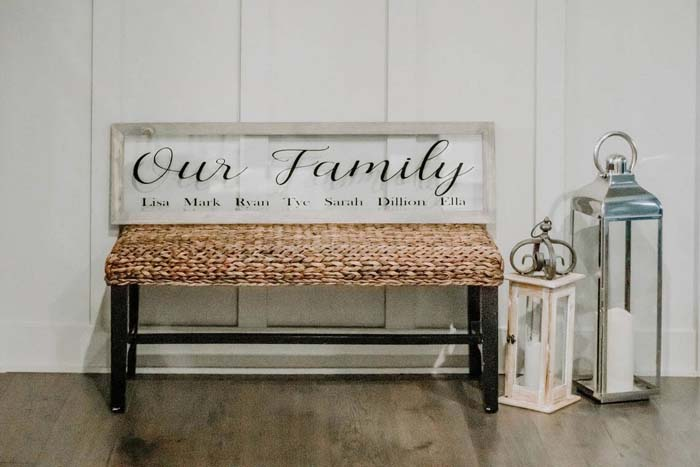 Woven Bench with Engraved Glass Back #family #homedecor #decorhomeideas
