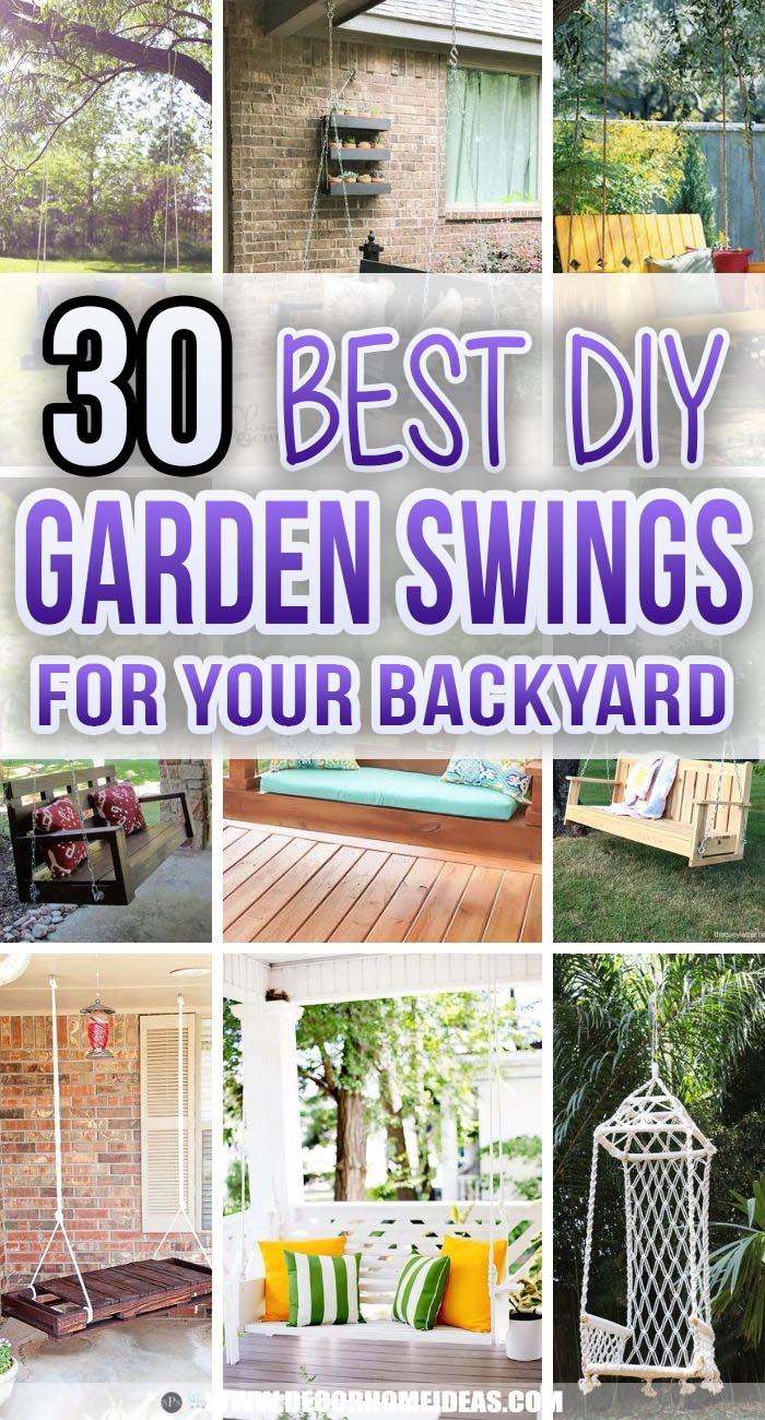 Best DIY Garden Swings. Make your own garden swing to sit and relax all day. These DIY garden swings are the best outdoor furniture project, whether you're a pro-level woodworker or a total newbie. #decorhomeideas
