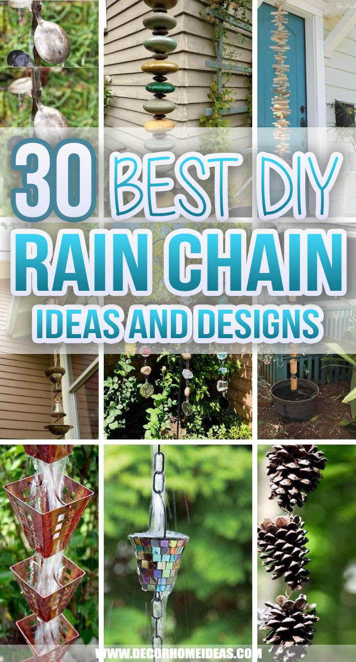 Best DIY Rain Chain Ideas. Get the best DIY rain chain ideas that are pretty easy to install. They are very creative and could add more drama and curb appeal to your outdoor space. #decorhomeideas