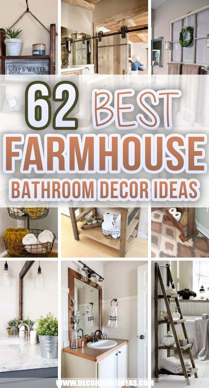 Best Farmhouse Bathroom Decor Ideas. Farmhouse style bathrooms are amazing because even when they are not so big they could make a huge impact on your interior. These farmhouse bathroom decor ideas will help you achieve that. #decorhomeideas