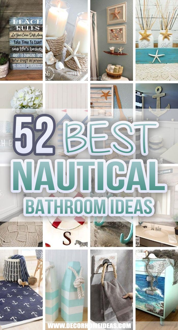 Best Nautical Bathroom Ideas. Nautical bathroom decorations would bring the charm of the ocean into your home. Create a relaxation paradise with these nautical bathroom ideas. #decorhomeideas