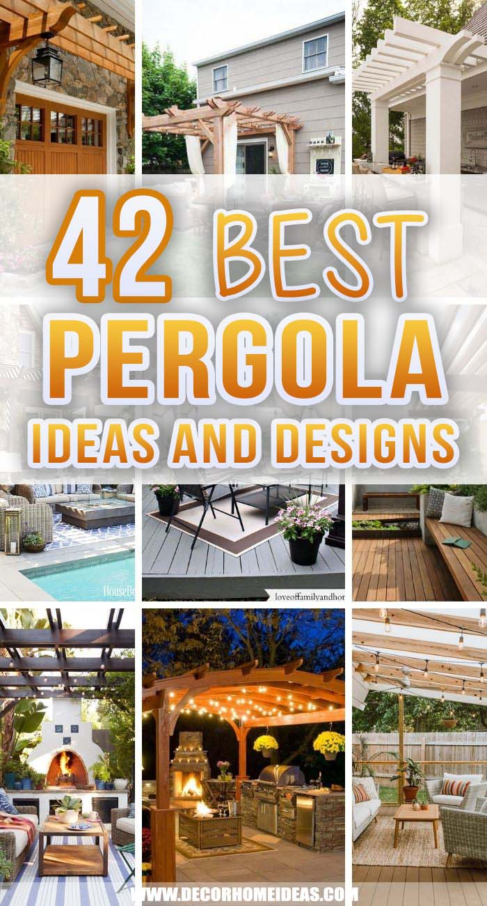 Best Pergola Ideas And Designs. These pergola ideas can give you a stylish way to entertain and enjoy your outdoor space without sacrificing your comfort. You can even DIY a pergola and create your own design. #decorhomeideas
