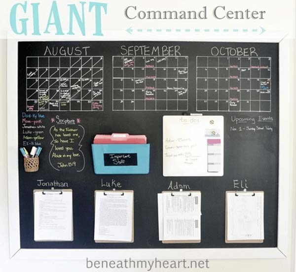Clear Design That's Easy to Write and Erase #commandcenter #organization #diy #decorhomeideas
