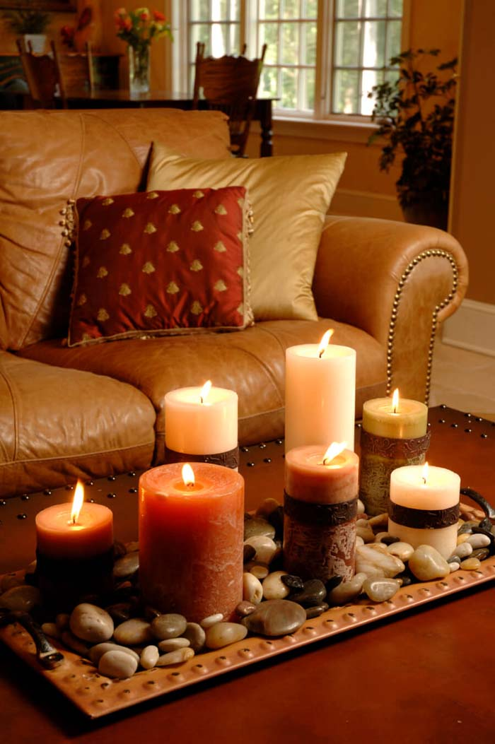 Colors, Textures, Stones and Candles #candledecorations #candles #homedecor #decorhomeideas