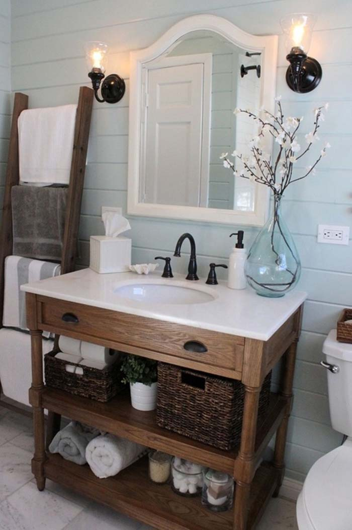 Cottage Bath with Painted Shiplap and Vintage Hardware #rusticbathroom #rusticdecor #decorhomeideas