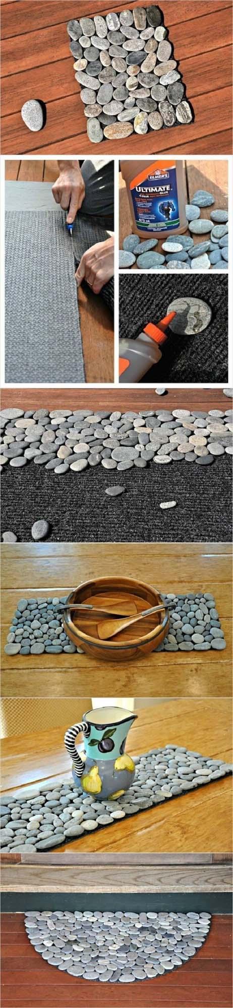 Dress Up Your Welcome Mat #homedecor #pebbles #rocks #decorhomeideas