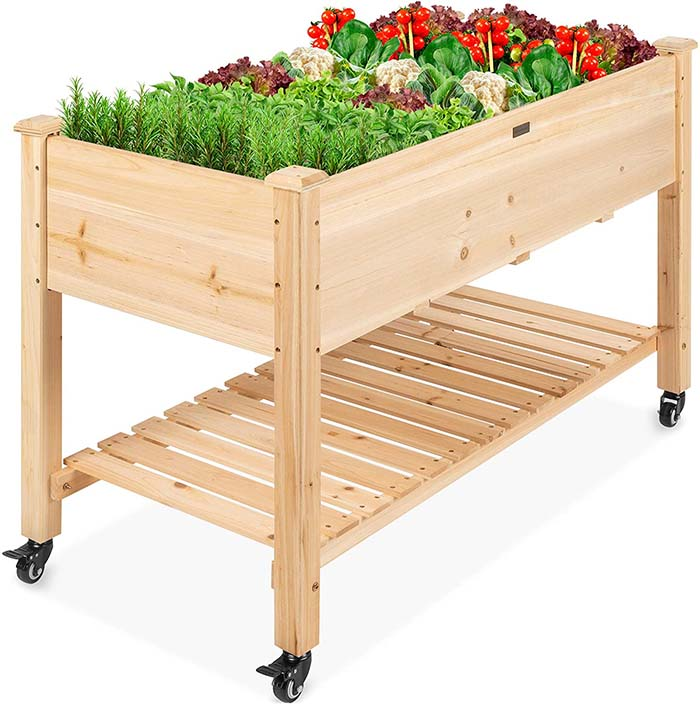Elevated Wood Planter Box Stand For Backyard
