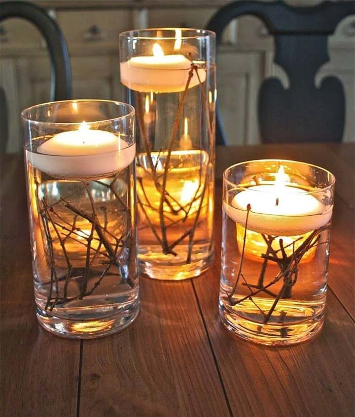 Floating Votives with Twig Accents #candledecorations #candles #homedecor #decorhomeideas