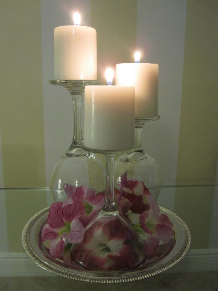Fresh Flowers and Stemware Candle Trio #candledecorations #candles #homedecor #decorhomeideas