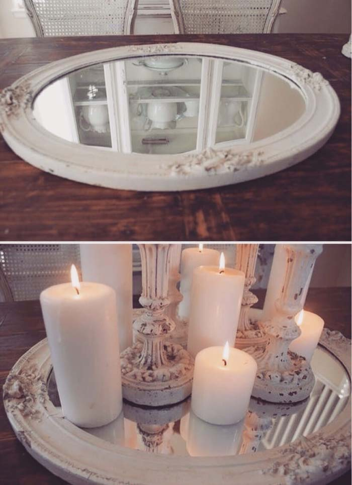From Old Frame to Mirrored Candle Tray #candledecorations #candles #homedecor #decorhomeideas