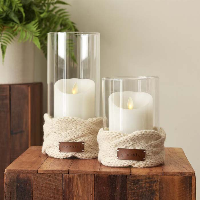 Glass Candle Holder With Knit Wrap Large #candledecorations #candles #homedecor #decorhomeideas