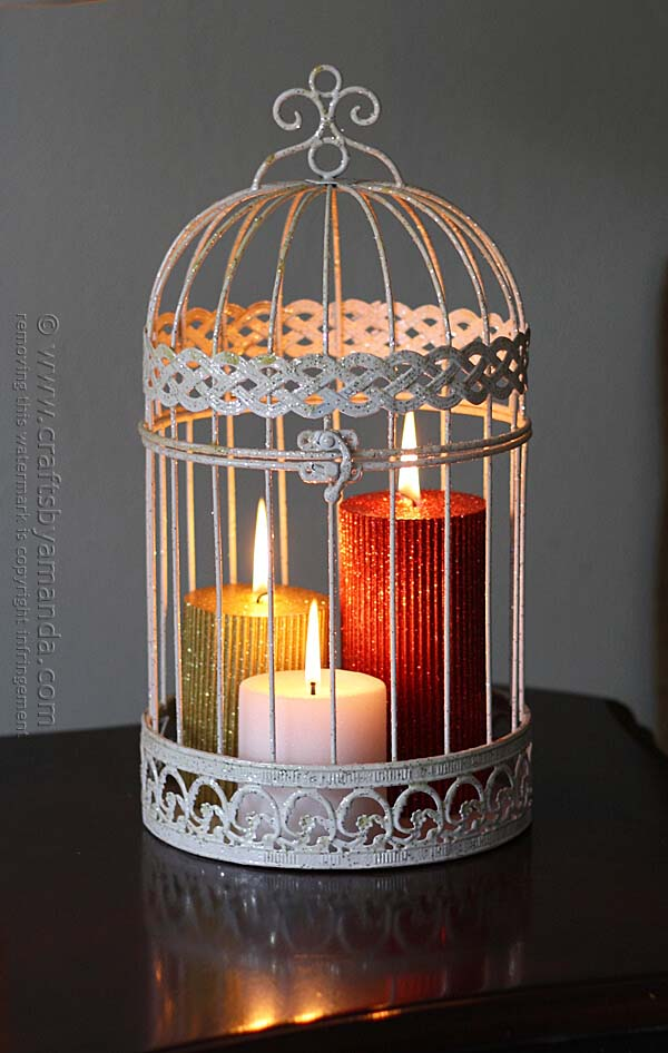 Glittering Holiday Bird Cage Candles #candledecorations #candles #homedecor #decorhomeideas