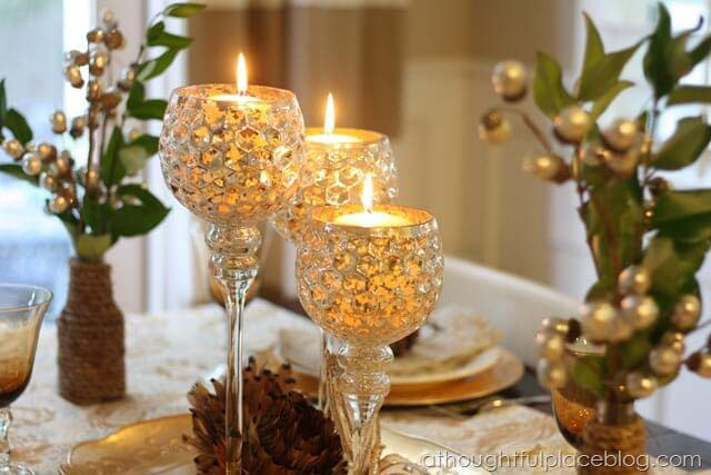 Glittering Wine Goblets Candle Display #candledecorations #candles #homedecor #decorhomeideas
