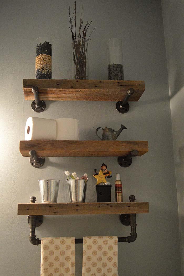 Heavy Plank Shelves with Industrial Hardware #rusticbathroom #rusticdecor #decorhomeideas